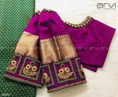 Gorgeous purple color designer blouse with floral design hand embroidery gold thread and bead work on sleeves and neckline. Wedding Saree Blouse Designs, Pattu Saree Blouse Designs, Blouse Designs Silk, Designer Blouse Patterns, Wedding Blouses, Blouse Back Neck Designs, Simple Blouse Designs, Aari Embroidery, Embroidery Designs