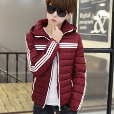Find More Parkas Information about Winter Parka Men New Arrival Striped Slim Fit Cotton padded Down Jacket Men Hot Sale Lovers Hooded Coat Man 3XL S Black/Blue/Red,High Quality jacket tag,China coat boy Suppliers, Cheap jacket coat women from Eric's on Aliexpress.com