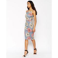ASOS Print Scuba Pinny Midi Dress ($60) ❤ liked on Polyvore featuring dresses, print, white floral dress, floral dress, mid calf dresses, high neck dress and print midi dress