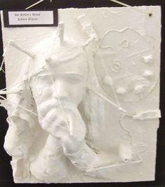 "Plaster craft self portrait ""The Artist's Mind"" Plaster Sculpture, Wind Sculptures, Pottery Sculpture, Sculpture Art, Sculpture Lessons, Sculpture Projects, High School Art, Middle School Art, Art Classroom Management"