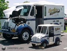 1969 divco milk truck and smaller fiberglass version