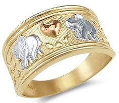 New 14k Yellow Tri-Color Gold Elephant Love Heart Ring Sonia Jewels. $263.00