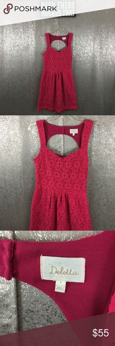 Deletta Anthropologie pink lace cutout back dress In excellent preowned condition Anthropologie Dresses