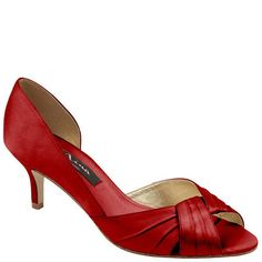 """Nina CULVER-YS RED ROUGE LUSTER SATIN by Nina Shoes 2.5"""" heel $79"""