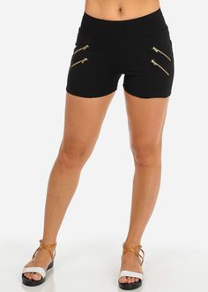 Black High Waist Stretchy Shorts