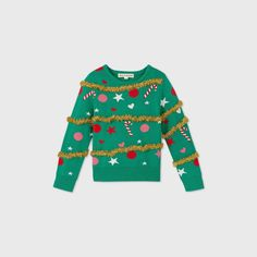 Toddler Christmas, Christmas Sweaters, Christmas Shirts, Girls Fleece, Rainbow Print, Clothes Crafts, Sweater Making, Green Sweater, Xmas