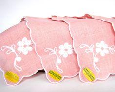 pretty pink vintage linen napkins by CedarRunVintage