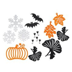 Five magnetic hooks plus 11-piece Seasonal Ornament Set: three white snowflakes, three black gingko leaves, one orange pumpkin, two orange l...