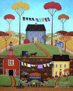 Wash Day - Folk Art by Mary Charles