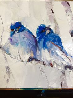 Two Little Blues 10x10 On Gallery Wrap Canvas Oil With
