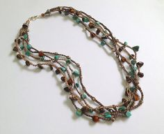 Four Strand BEAD CROCHET NECKLACE by kellykarr on Etsy, $35.00