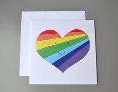 Rainbow heart blank or Valentines card with smiley face Rainbow Crafts, Heart Painting, Square Card, Friendship Cards, Rainbow Heart, Cute Unicorn, Heart Cards, Smiley, Birthday Cards