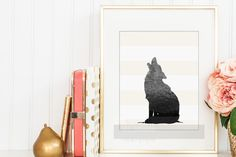 Woodland Print, Fox Silhouette, Nursery Decor Wall Art with Fox Shadow, Animal Silhouette, Gift Ideas for Wedding, Housewarming, New Baby - pinned by pin4etsy.com