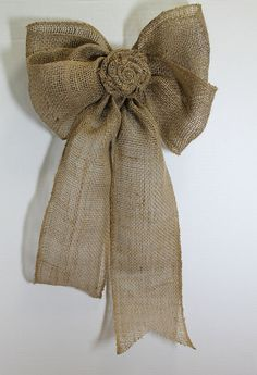 Burlap Wedding  Bow- Shabby Chic Rustic , Home Decor, Wedding Decoration, Pew Bows via Etsy