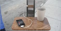 Pensa's Street Charge concept lets you charge your phone and have a nice place to set your coffee while you wait for the bus.