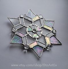 Snowflake. Pendant. Suncatcher. Stained Glass. by DizArtEx on Etsy