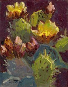Cactus In Bloom 1 Painting  - Cactus In Bloom 1 Fine Art Print