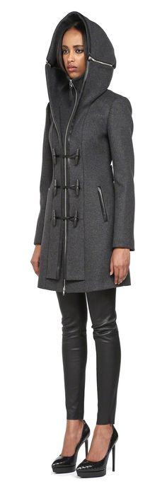 Mackage - STEFFY-F4 LONG CHARCOAL WOOL DUFFEL COAT FOR WOMEN