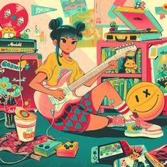 Dark Art Drawings, Love Drawings, Kawaii Drawings, The Proud Family, Anime Character Drawing, 2d Art, Magical Girl, Traditional Art, Cute Art