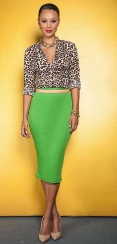 Bold pencil skirt in green.