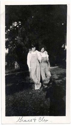 222d4dd45fe1 Old Photo 2 Women Arm N Arm wearing Overalls Shadow 1920s Photograph  snapshot vintage
