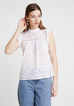 9e6c299ca51 Lace Trim Top | Products in 2019 | Tops, Blouse designs, Workwear skirts
