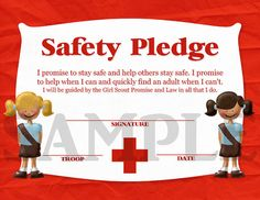 "Girl Scouts Brownie Safety Pledge Certificate  @Elizabeth Lockhart Lockhart Gaxiola-Guzman  SOO cute for after our tour, this can complete their ""first aid"" badge!"