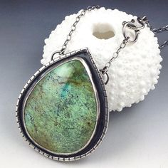 @michelegradydesigns Turquoise and sterling silver pendant. This one has a handmade clasp that links in the front... And it's available in my etsy shop!