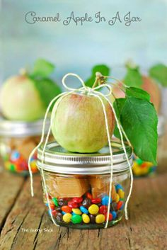 This week's craft-- 10/26 Caramel Apple in a Jar! Wrapped carmel candies, toppings, a mason jar, sucker stick and an apple!!