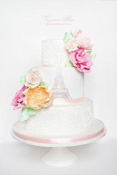Paris theme wedding cake ~ all sugar paste peonies Paris Themed Cakes, Paris Cakes, Themed Wedding Cakes, Beautiful Wedding Cakes, Beautiful Cakes, Amazing Cakes, Cupcakes, Cupcake Cakes, Parisian Cake