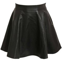 Pilot Leather Look Skater Skirt ($54) ❤ liked on Polyvore featuring skirts, bottoms, dresses, saias, black, circle skirt, flared skirts, faux leather skirt, imitation leather skirt and fake leather skirt