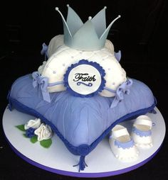 Pillow Cake with Crown Cake by The Buttercreamery Baby Shower Cake Designs, Baby Shower Cakes For Boys, Baby Shower Niño, Fondant Cakes, Cupcake Cakes, Cupcakes, Prince Cake, Royal Prince, Beautiful Cakes