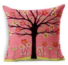 Tree cojín coche cama flor Floral Hotel impresos azul rosa algodón lino decoración del hogar sofá vendimia funda de almohada cojín