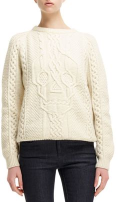 Alexander Mcqueen Cableknit Skulldesign Sweater in White (IVORY) - Lyst