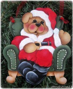 HP TEDDY BEAR Santa in Chair ORNAMENT #Handpainted