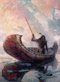 Ojibway Indian Spearing the Maskenozha (Pike) (1923) by Frank Earle Schoonover. The Rockwell Museum of Western Art, Corning, New York.