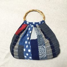 Japanese Boro Bamboo Tote Bag, Granny Bag, Remake Bag, Evryday Bag, Sashiko, Patchwork, Upcycling, Hand- Swen