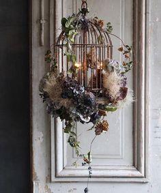 Dried Flower Arrangements, Dried Flowers, Flower Chandelier, Chair Pictures, Flower Installation, Creative Workshop, Bird Cages, Flower Wall, Home Decor Items
