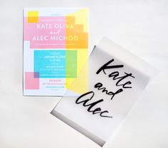 Color Blocked Geometric Wedding Invitations by And Here We Are