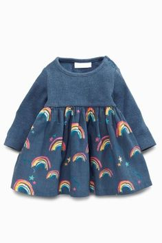 Buy Navy Rainbow Print Dress from the Next UK online shop Toddler Dress, Baby Dress, Little Girl Dresses, Girls Dresses, Dresses Dresses, Toddler Fashion, Kids Fashion, Fall Baby Clothes, Rainbow Outfit