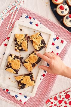 Sheet Pan Cherry Pie Bars Recipe. This slab pie is an easy and delicious way to serve this classic summer dessert for a crowd! An excellent potluck recipe, these simple and easy bars are made with fresh sweet cherries, sugar, butter,  lemon juice, almond extract, and a few pantry staples.