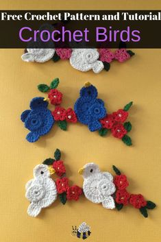 Get the free crochet pattern for these easy crochet birds along with a crochet beginner tutorial at Kerri's Crochet. I have a crochet pattern bird which will be attached onto a crochet branch. There is also an accompanying video tutorial. Crochet Applique Patterns Free, Crochet Motifs, Crochet Flower Patterns, Crochet Patterns For Beginners, Crochet Designs, Crochet Flowers, Crochet Stitches, Beginner Crochet, Free Pattern