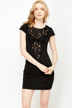 e460159fb60b4 Floral Lace Insert Scuba Dress