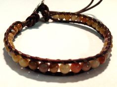 Morocco agate bracelet with leather cord and by ValiantMosaic, $20.00