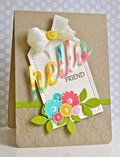sweet spring card - love the word die cut from patterned paper
