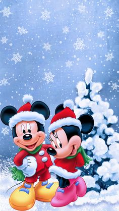 Disney Minnie and Mickey at Christmas
