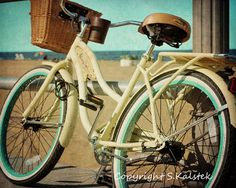 Vintage Bicycle Photograph Yellow Aqua Retro Bike Wall Art Beach Bicycle Art 8x10