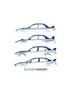Six Stars SilhouetteHistory Silhouettes of the Subaru Impreza WRX generations. Subaru Impreza Sti, Wrx Sti, Jdm, Cool Car Drawings, Car Silhouette, Car Tattoos, Subaru Models, Car Memes, Ford