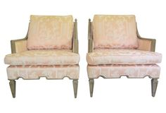 A pair of armchairs with original Chinoiserie fabric and lovely scallop detailing