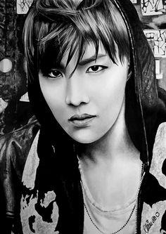 Black & white drawing of V (Taehyung) & Jungkook aka Vkook/ Taekook from the group BTS (Bangtan Boys). Used pencil HB, 5B, 8B black crayon, & white ink pen. Size 21 x 30cm (A4). PLEASE ...